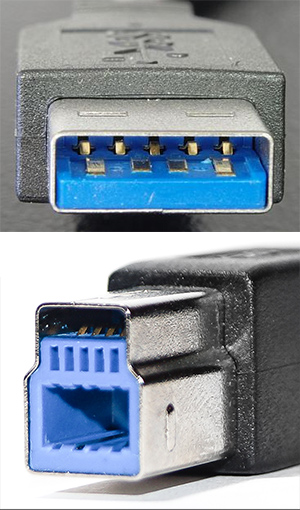 9 pin USB 3.0 Standard-A, Standard-B Plugs and 11 pin USB 3.0 Powered-B  Plug connector @ Pinouts.ruPinouts by Connector